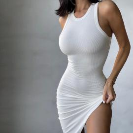 Solid Color Sleeveless Slim Dress Nihaostyles Wholesale Clothing Vendor NSXPF73462