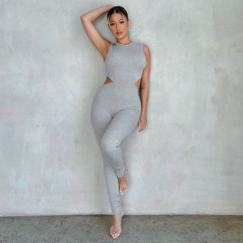 Solid Color Side Waist Hollow Shaping Jumpsuit Nihaostyles Wholesale Clothing Vendor NSXPF73465