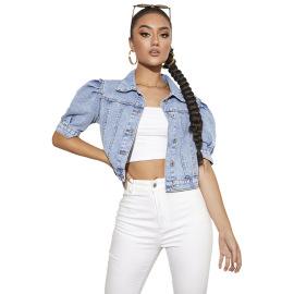Women's Loose Bubble Short-sleeved Lapel Denim Jacket Nihaostyles Clothing Wholesale NSJM73531