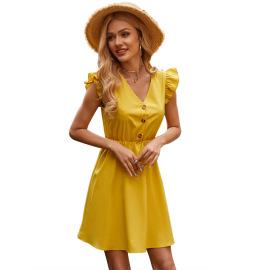 Women's Ruffled Button High Waist Sleeveless Dress Nihaostyles Clothing Wholesale NSJM73537