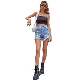 Women's Hole Loose High Waist Wide Leg Denim Shorts Nihaostyles Clothing Wholesale NSJM73543