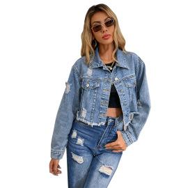 Women's Short Slim Style Denim Jacket Nihaostyles Clothing Wholesale NSJM73549