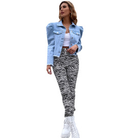 Women's Lapel Denim Jacket Nihaostyles Clothing Wholesale NSJM73553