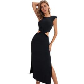 Women's Black Round Neck Split Split Thin Dress Nihaostyles Clothing Wholesale NSJM73556
