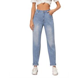 Women's High Waist Slim Denim Trousers Nihaostyles Clothing Wholesale  NSJM73557