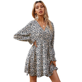 Women's Printed V-neck Long-sleeved Slim Mid-length Dress Nihaostyles Clothing Wholesale NSJM73559