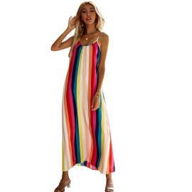 Women's Sleeveless Striped Slim Strap Beach Dress Nihaostyles Clothing Wholesale NSJM73563