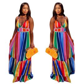 Rainbow Stripe Print Suspender Dress Nihaostyles Wholesale Clothing Vendor NSYDF73574