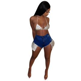 Fashion Big Pocket Sequined Denim Shorts Nihaostyles Wholesale Clothing Vendor NSYDF73593