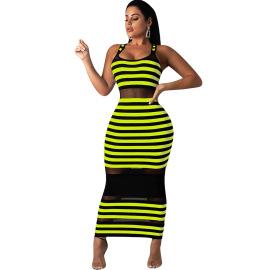 Mesh Stitching Skinny Dress Nihaostyles Wholesale Clothing Vendor NSYDF73601