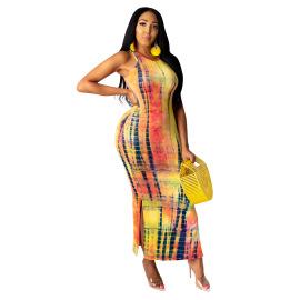 Sleeveless Tie-dye Long Dress Nihaostyles Wholesale Clothing Vendor NSYDF73610