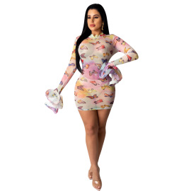 Butterfly Printing Net Yarn See-through Dress Nihaostyles Wholesale Clothing Vendor NSYDF73624