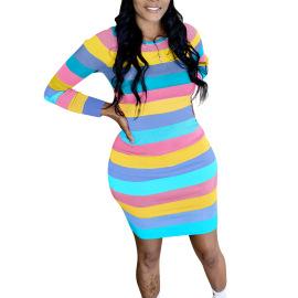 Color Striped Short Dress Nihaostyles Wholesale Clothing Vendor NSYDF73627