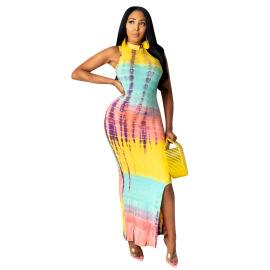 Casual Long High-neck Tie-dye Dress Nihaostyles Wholesale Clothing Vendor NSYDF73632