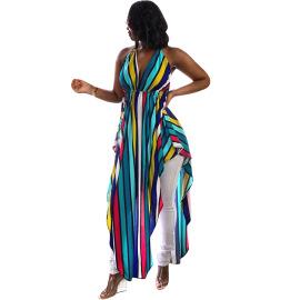 Halter Stripe Printed Dress Nihaostyles Wholesale Clothing Vendor NSYDF73637