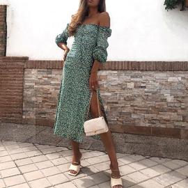 New Floral Folds Irregular Dress Nihaostyles Wholesale Clothing Vendor NSYIS74953