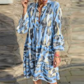 New Printed Stand Collar Stitching Lotus Leaf Sleeve Dress Nihaostyles Wholesale Clothing Vendor NSYIS74952