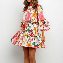 Women's Printed Round Neck Stitching Ruffle Dress Nihaostyles Clothing Wholesale NSYIS73784