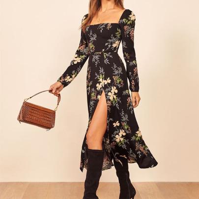 Women's Printed Square Neck Long Sleeve Split Dress Nihaostyles Clothing Wholesale NSYIS73805