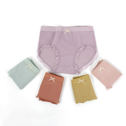 Lace-side Pure Cotton Women's Panties Nihaostyles Clothing Wholesale NSLSD73649