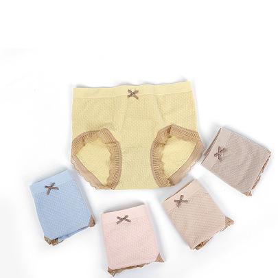 Bowknot Lace Trim Low-rise Eco-cotton Women's Underwear Wholesale NSLSD73652