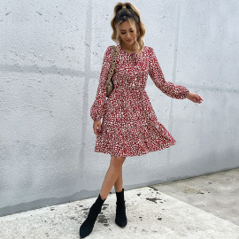 Women's Printing Round Neck Long-sleeved Lace-up Printing Dress Nihaostyles Clothing Wholesale NSDMB73692
