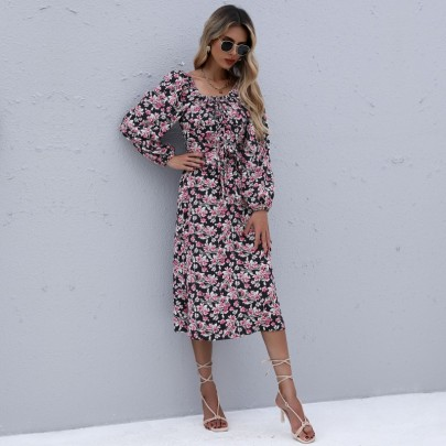 Women's Long-sleeved Floral Square Neck Pleated Lace Dress Nihaostyles Clothing Wholesale NSDMB73693
