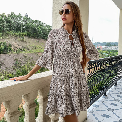 Women's Leopard Print Lace-up Leisure Holiday Dress Nihaostyles Clothing Wholesale NSDMB73700