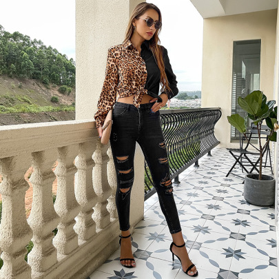 Women's Long-sleeved Leopard-print Lapel Stitching Contrast Color Blouse Nihaostyles Clothing Wholesale NSDMB73701