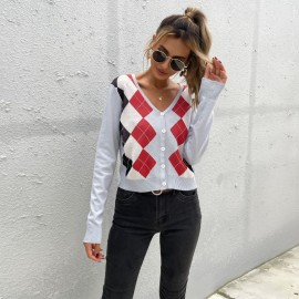 Women's Long-sleeved Diamond V-neck Jacquard Slim Knitted Cardigan Nihaostyles Clothing Wholesale NSDMB73702