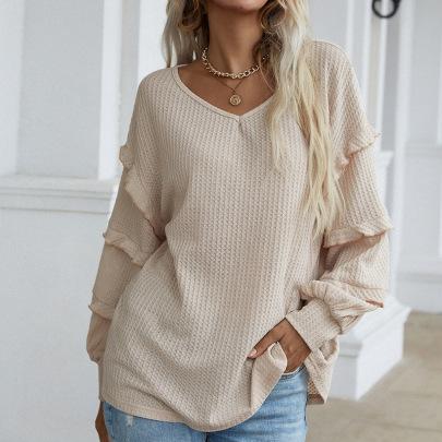 Women's Solid Color Loose Long Petal Sleeve Blouse Nihaostyles Clothing Wholesale NSDF73704