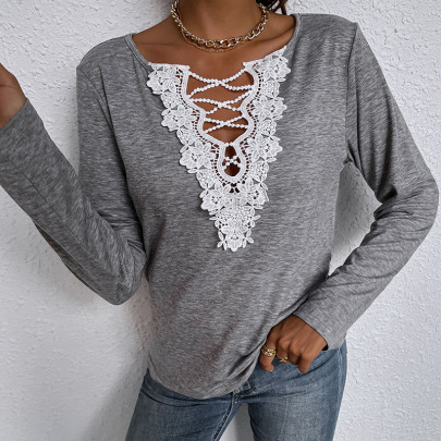 Women's Loose Long-sleeved V-neck Solid Color T-shirt Nihaostyles Clothing Wholesale NSDF73706