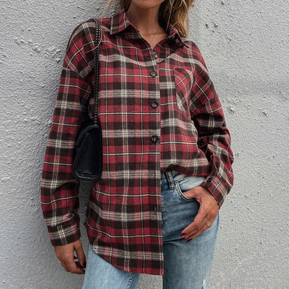 Women's Red Plaid Lapel Single-breasted Long-sleeved Shirt Nihaostyles Clothing Wholesale NSDF73707