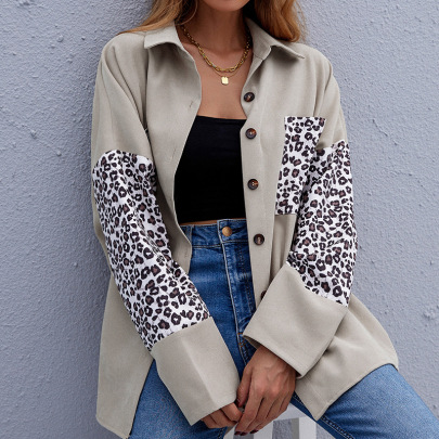 Women's Stitching Leopard Print Long-sleeved Jacket Nihaostyles Clothing Wholesale NSDF73709