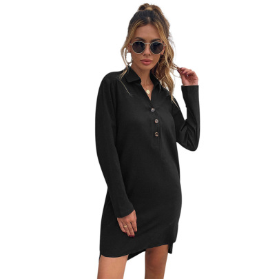 Women's Black Long-sleeved Loose Dress Nihaostyles Clothing Wholesale NSDF73710
