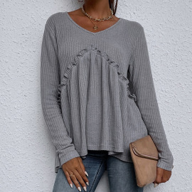 Women's Loose Solid Color Round Neck Stitching Long-sleeved T-shirt Nihaostyles Clothing Wholesale NSDF73711