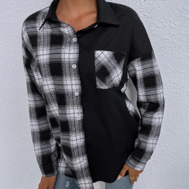 Women's Black And White Plaid Single-breasted Loose Long-sleeved Shirt Nihaostyles Clothing Wholesale NSDF73712