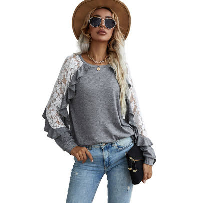 Women's Loose Lace Stitching Long-sleeved Round Neck Solid Color T-shirt Nihaostyles Clothing Wholesale NSDF73714