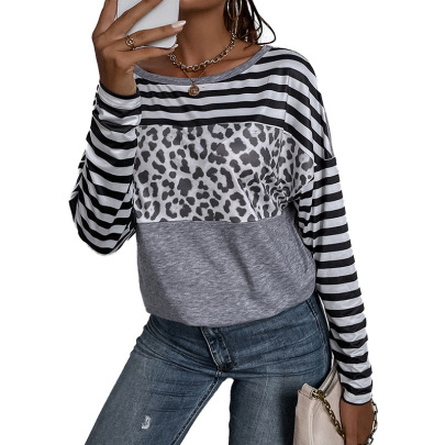 Women's Loose Round Neck Printing Long-sleeved T-shirt Nihaostyles Clothing Wholesale NSDF73717