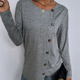 Women's Round Neck Single-breasted Loose T-shirt Nihaostyles Clothing Wholesale NSDF73719