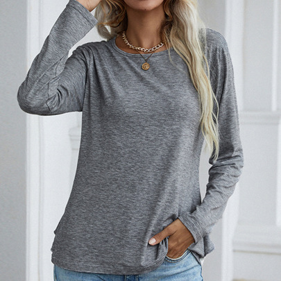 Women's Round Neck Long-sleeved Lace Stitching Solid Color T-shirt Nihaostyles Clothing Wholesale NSDF73720