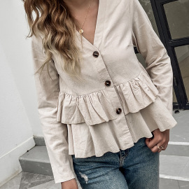 Women's V-neck Single-breasted Double-layer Pleated Long-sleeved T-shirt Nihaostyles Clothing Wholesale NSDF73722
