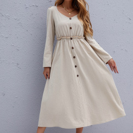Women's Round Neck Pullover Casual Solid Color Long-sleeved Waist Dress Nihaostyles Clothing Wholesale NSDF73723