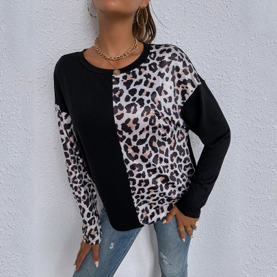 Women's Stitching Leopard Print Round Neck Long-sleeved Casual Loose T-shirt Nihaostyles Clothing Wholesale NSDF73725