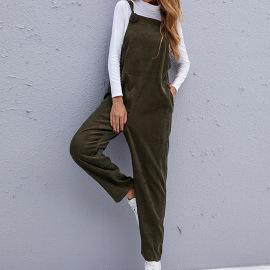 Women's Loose Corduroy Solid Color Bib Pants Nihaostyles Clothing Wholesale NSDF73728
