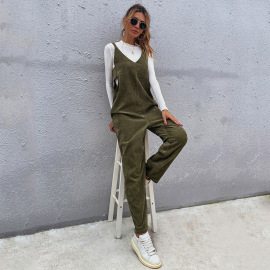 Women's Sleeveless V-neck Solid Color Bow Slim Suspender Jumpsuit Nihaostyles Clothing Wholesale NSDF73729
