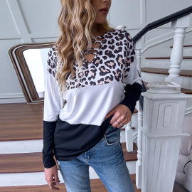 Women's Leopard Print Black And White Stitching V-neck Loose Long-sleeved T-shirt Nihaostyles Clothing Wholesale NSDF73732