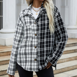 Women's Long-sleeved Shirt Black And White Stitching Plaid Single-breasted Coat Nihaostyles Clothing Wholesale NSDF73733