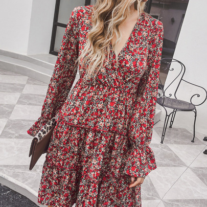 Women's V-neck Red Floral Long-sleeved Dress Nihaostyles Clothing Wholesale NSDF73739