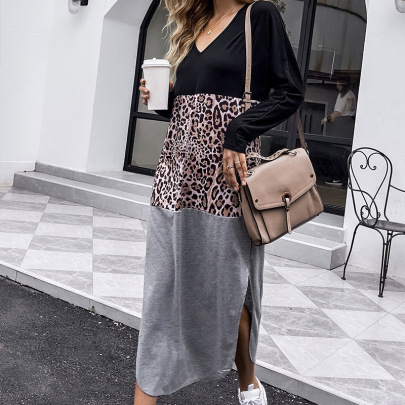 Women's Stitching Leopard Print V-neck Long Sleeve Dress Nihaostyles Clothing Wholesale NSDF73743